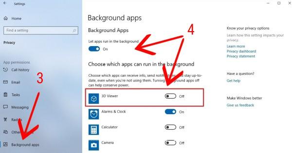 cara mematikan background apps windows 10
